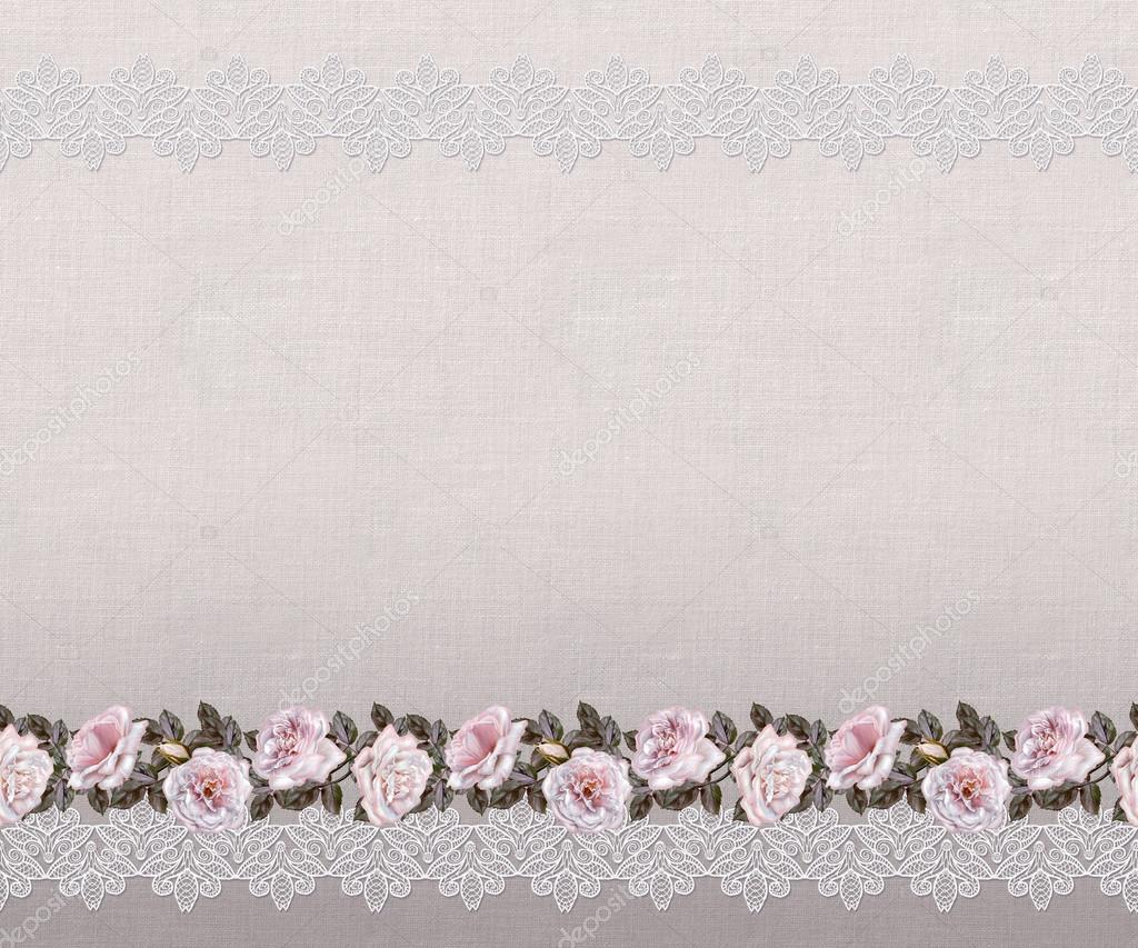 Old Style. Fine Weaving, Mosaic. Vintage Background. Flower Garland Of Pink  And Pastel Roses On A Background Openwork Lace. Horizontal Border.