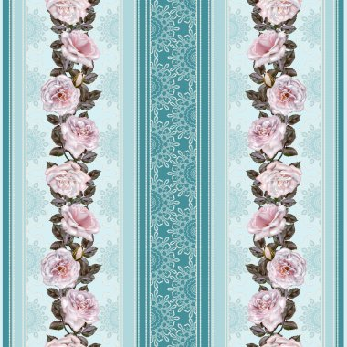 Vertical floral border. Pattern, seamless. Flower garland, bouquet of pink and lilac roses. Lace inserts openwork weaving, vintage.