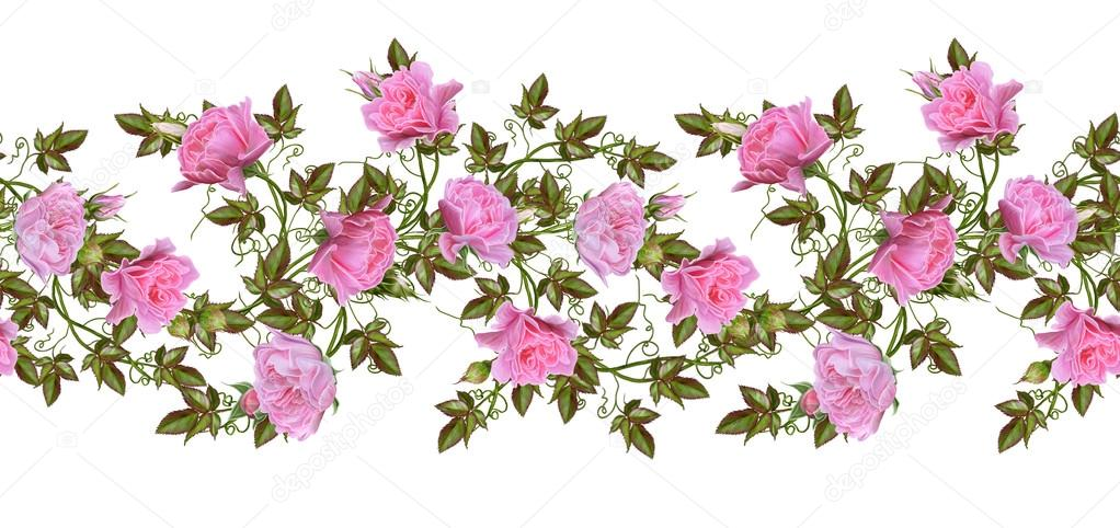 Pattern seamless old style fine weaving mosaic vintage fine weaving mosaic vintage background flower garland of pink and pastel roses horizontal border isolated on white background photo by sokolova mightylinksfo