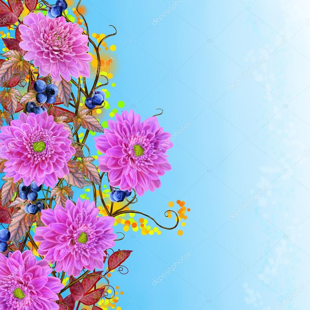 Weaving Thin Branches Chrysanthemums Pink Flowers Bright Red