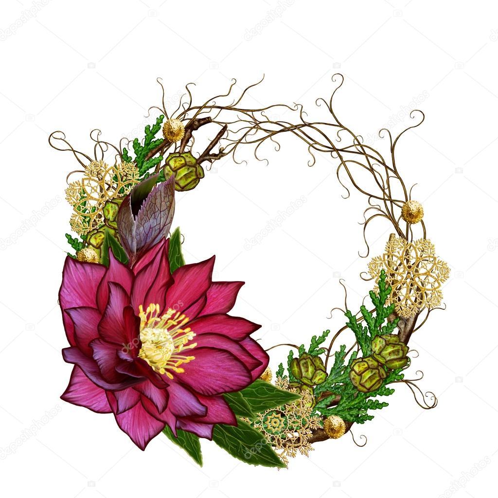 Guirnalda de Navidad de la composición. Tejer flor ramas delgadas ...