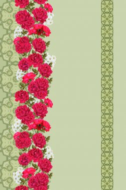 horizontal floral border red flowers climbing roses, inflorescence of white flowers , green leaves, pattern, seamless, floral background