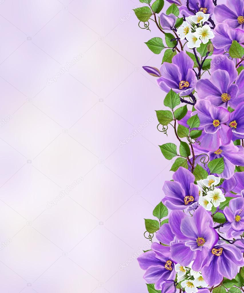 Floral Background Delicate Purple Spring Flowers Swirls Of Green