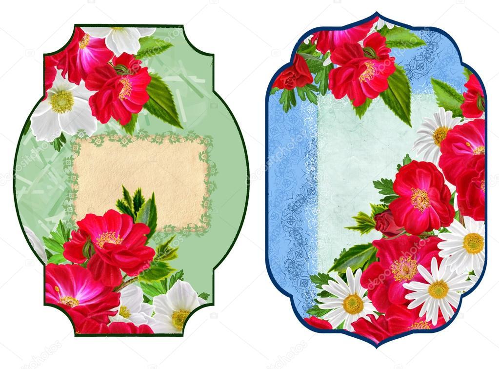 Carte Invitation De Visite Motif Fleurs Les Roses Sont Des Anemones Rouges Blancs Et Marguerites Images Stock Libres Droits