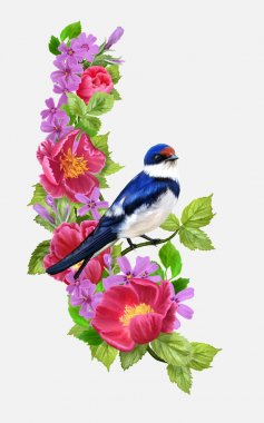 Swallow bird on a background composition of red and pink flowers, green foliage