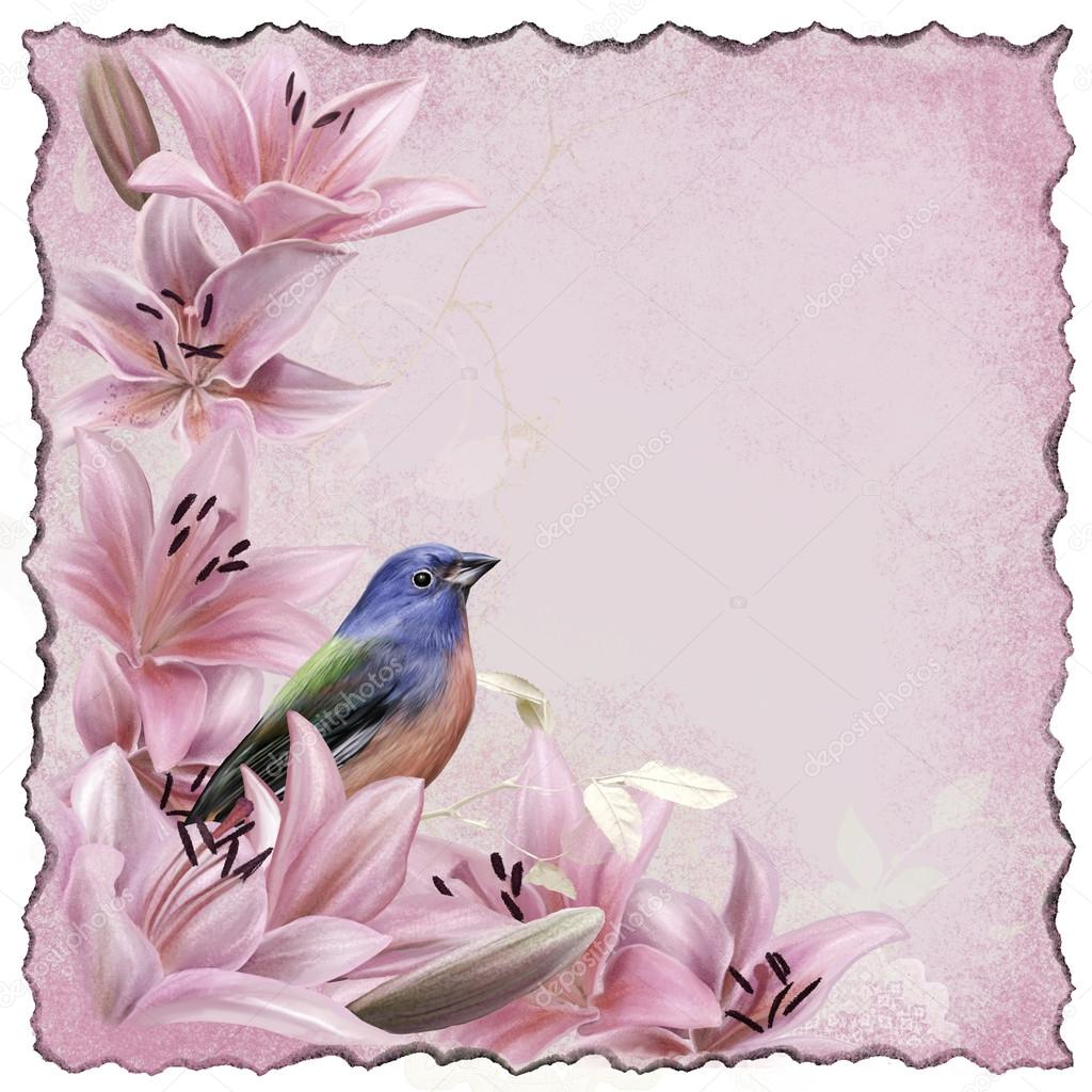 Floral Background Vintage Flowers Pink Lilies And Blue Bird Stock