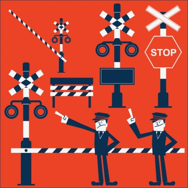 Railroad crossing symbol and guard conductor (Train Conductor)