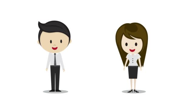 Cute couple in love holding hands, cartoon characters