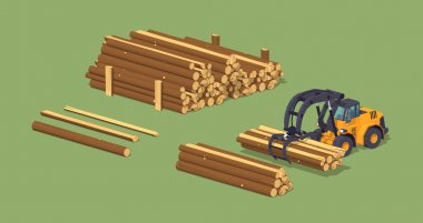 Log loader and the log piles