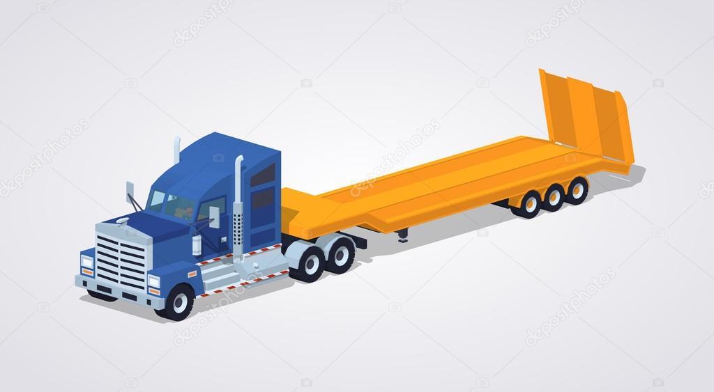Carro pesado azul con amarillo remolque cama baja — Archivo Imágenes ...