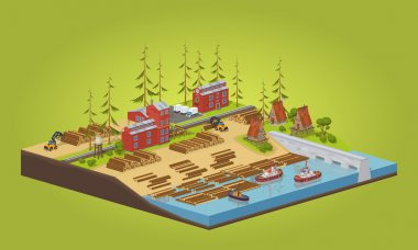 Lumber mill near the river