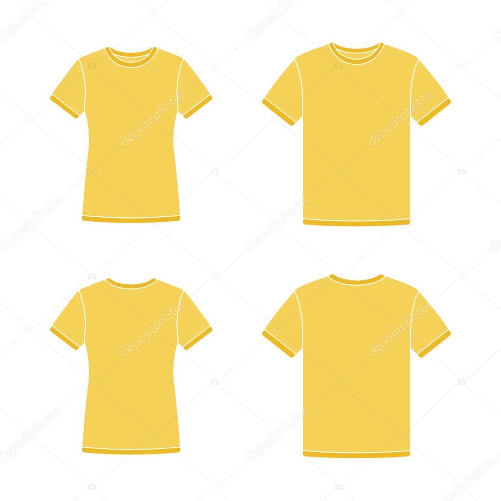 Plantillas de camisetas de manga corta amarilla — Vector de stock ...