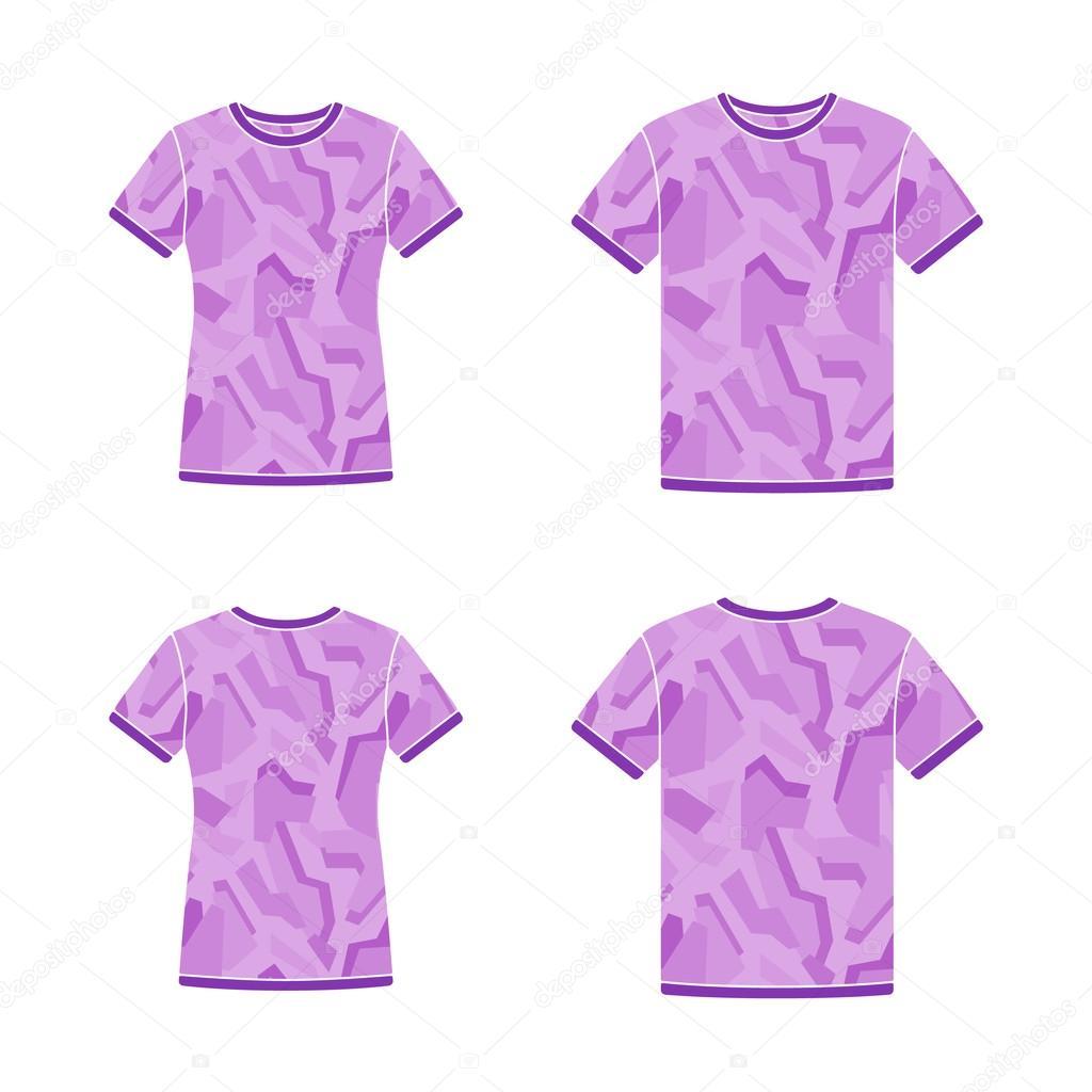 Plantillas de camisetas de manga corta morado con el patrón de ...