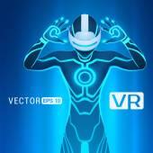 Fotografie Ein Mann in einer virtual-Reality-Helm