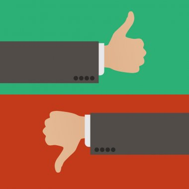 Like and Dislike. A hand with the thumb raised up and a hand with the thumb lowered down stock vector