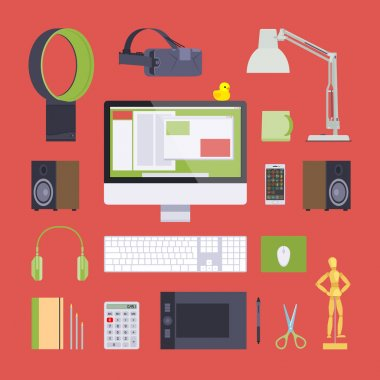 Items from the digital artist workplace