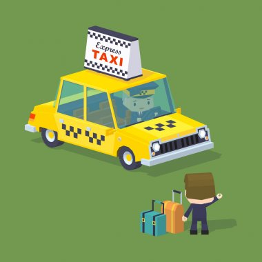 Cube World. Traveler with the suitcases trying to hail a taxi