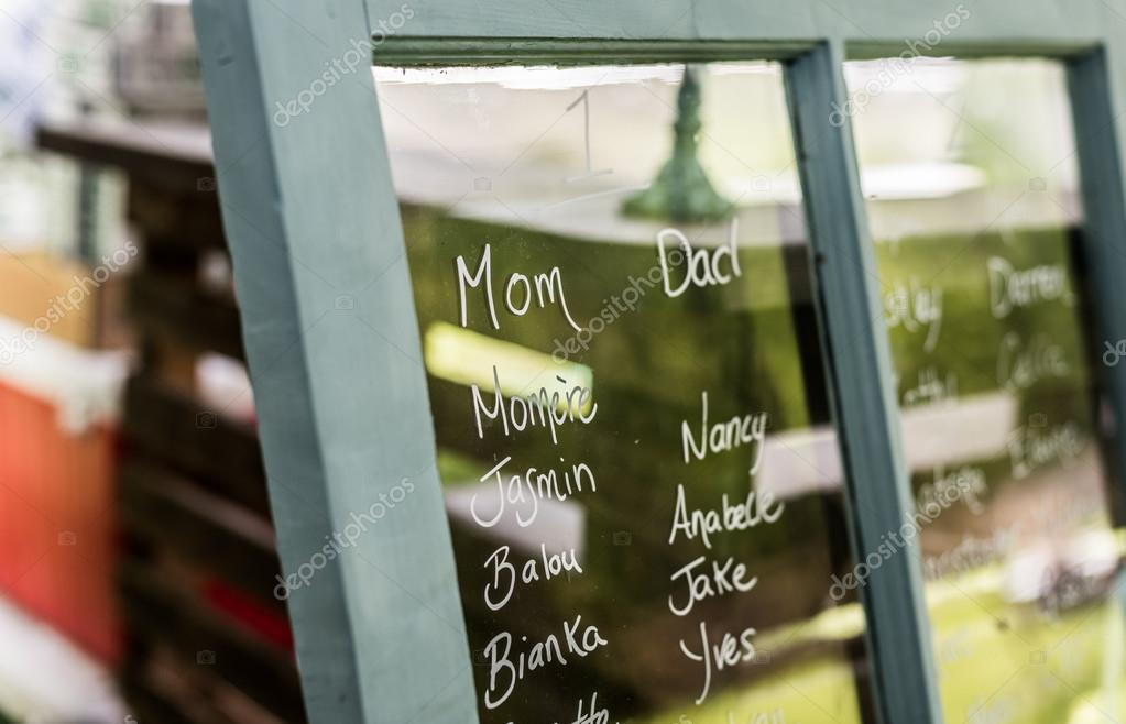 Head Table Names On A Window Form A Seating Plan At A Wedding