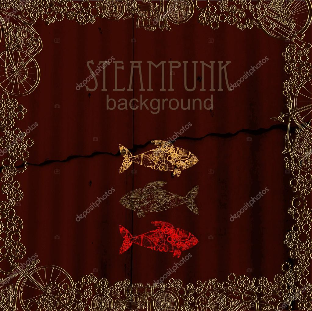big fish steampunk style template steampunk design for card frame