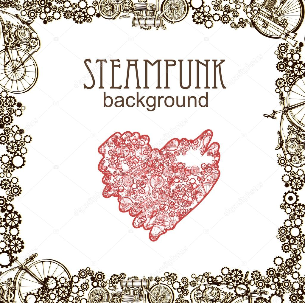 Estilo de Steampunk. Diseño plantilla steampunk tarjeta. Fondo de ...