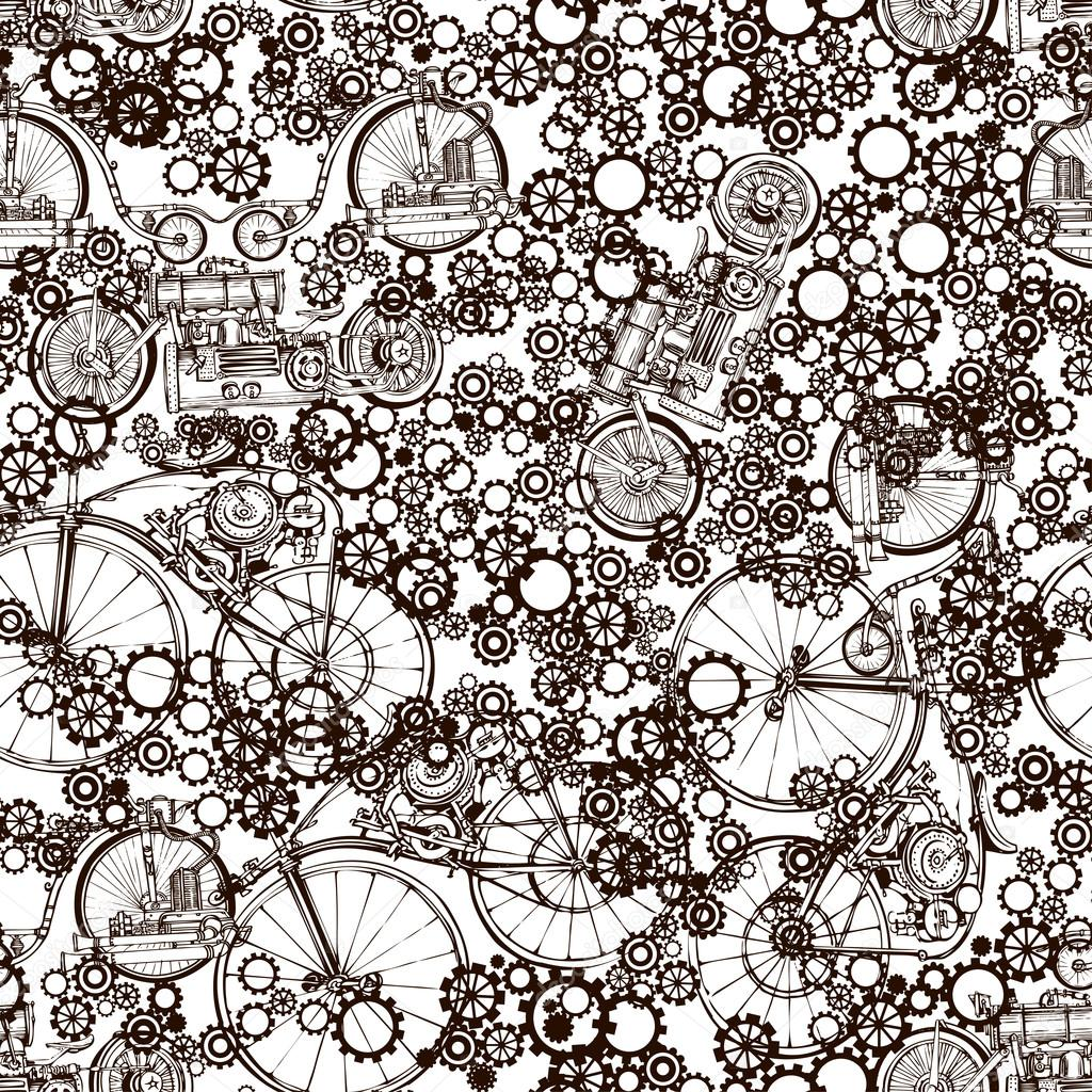 seamless pattern ste unk with old bikes and gears template  seamless pattern ste unk with old bikes and gears template ste unk design for card ste unk style vector by piratka