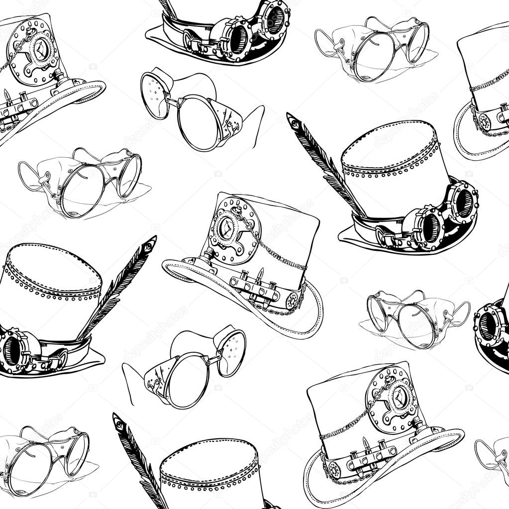 Seamless pattern Steampunk with steampunk top hat and ...