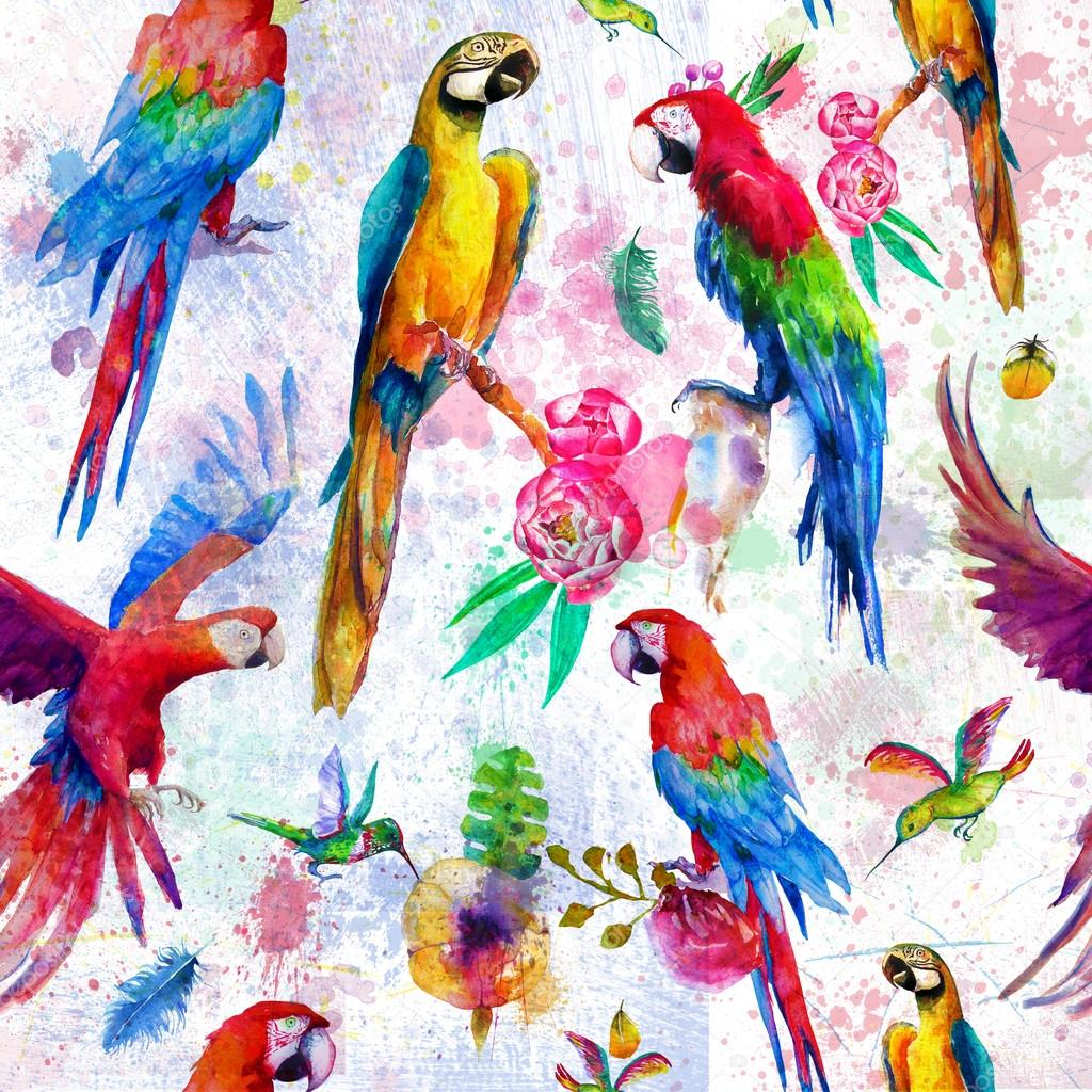 seamless pattern with watercolor parrots