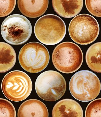 Seamless pattern with coffee cups