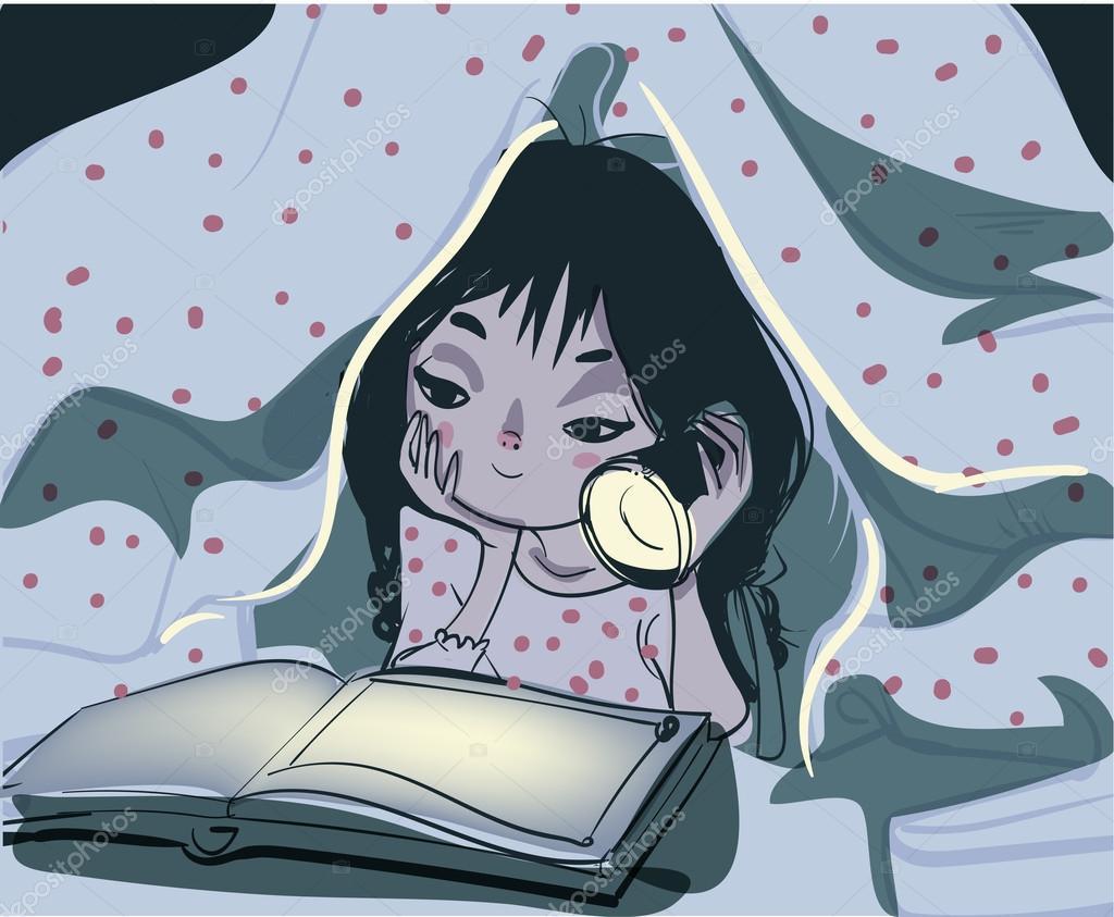 526eff68d Imágenes: una chica anime leyendo | niña leyendo libro debajo de una ...