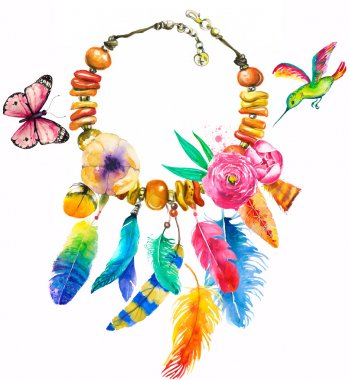 watercolor illustration with necklace