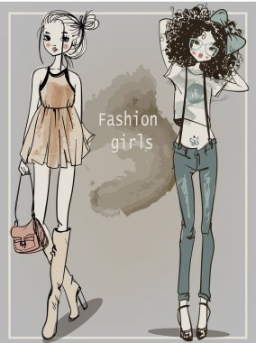 Cute fashion cartoon girls in sketchy style stock vector