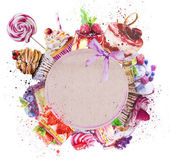 round frame with watercolor desserts.