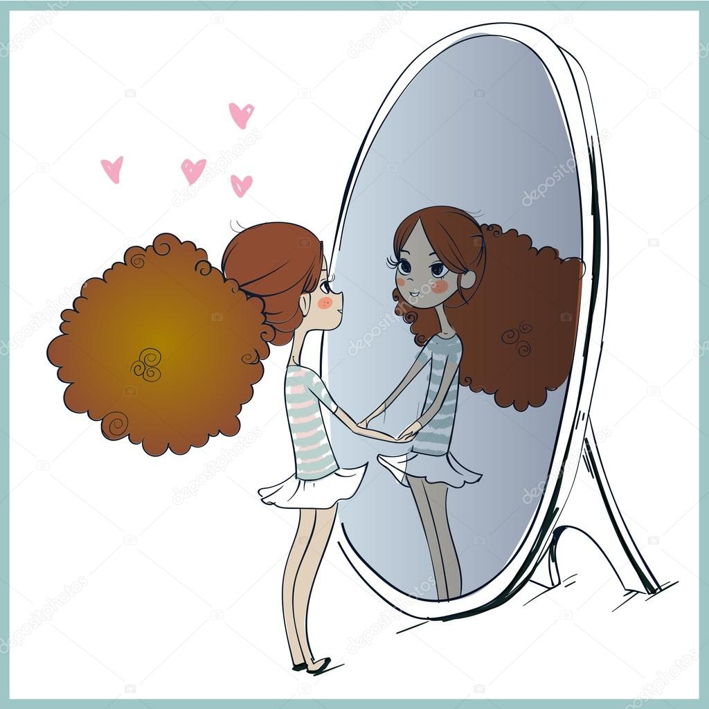 Cute girl looking at mirror stock vector cofeee 107635854 for Looking mirror