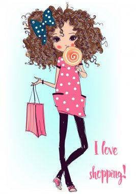 Cute fashion cartoon girl in sketchy style stock vector