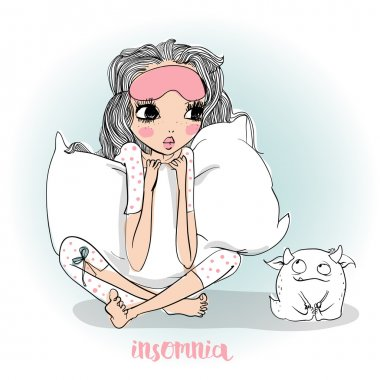 cute cartoon girl with pillow