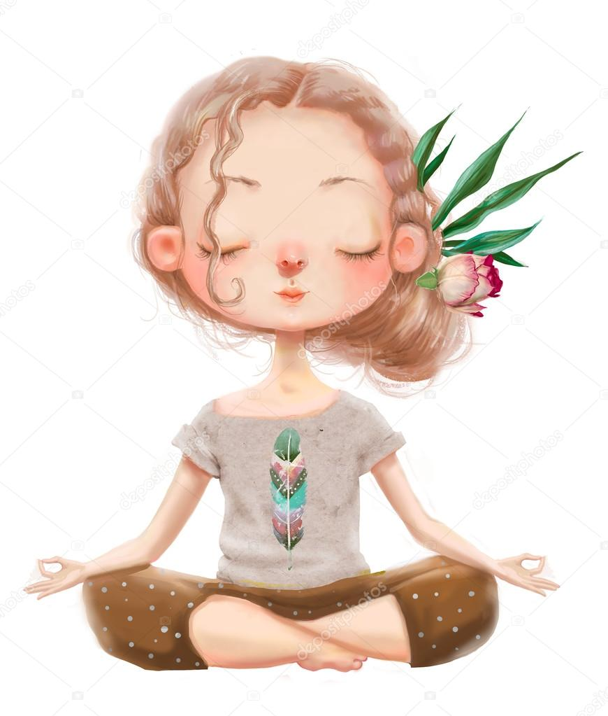 cute cartoon yoga girl — stock photo © cofeee #121673080