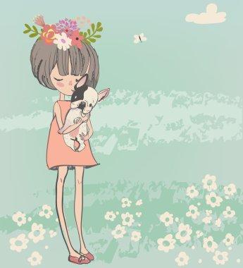 cute little girl with bulldog