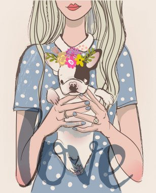 Cute cartoon girl with french bulldog on her hands clip art vector