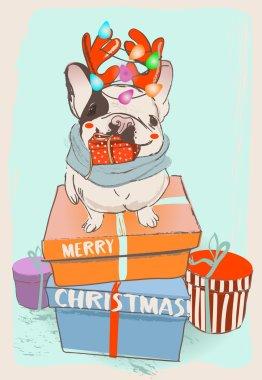 little cute cristmas bulldog