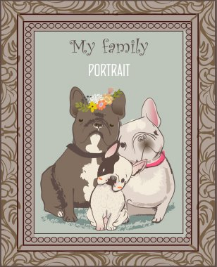 cute bulldog family portrait