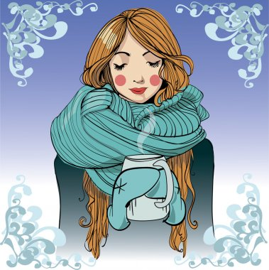 Winter young woman with a cup of coffee clip art vector