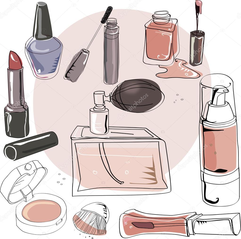 Set of cosmetics and perfumes
