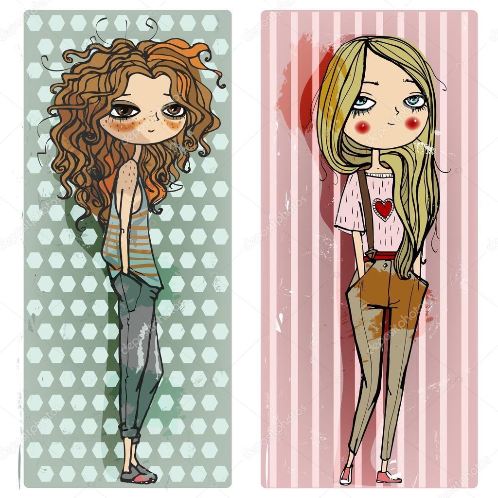 chicas de dibujos animados de moda — Archivo Imágenes Vectoriales ...
