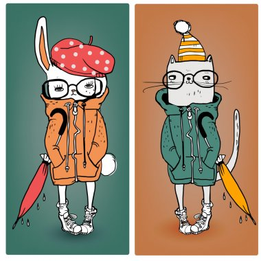 cute cat and hare in warm clothes