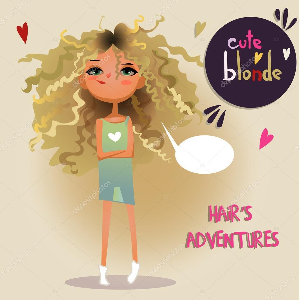 Cute Blonde Girl Stock Vector C Cofeee 85516630