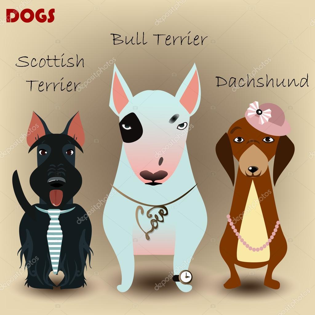 Impostare con i cani dei cartoni animati u vettoriali stock