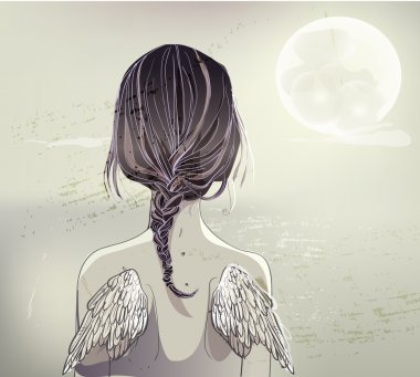 back of girl with wings