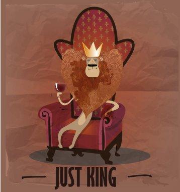 cartoon lion on armchair