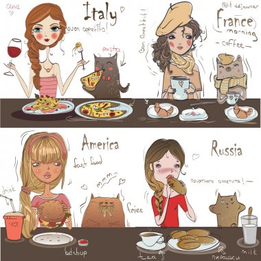pattern with eating girls and cats