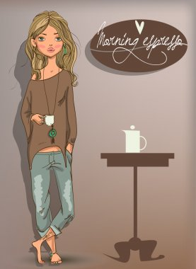 Cute girl with coffee cup,vector stock vector